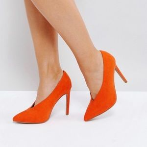 ASOS Priority Orange Velvet Pointed Toe Stilettos